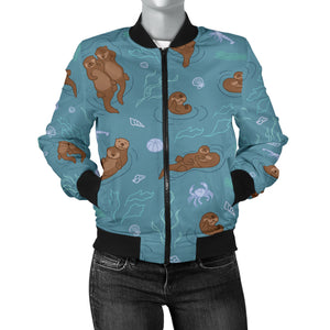 Sea Otters Pattern Women'S Bomber Jacket