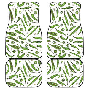 Hand Drawn Sketch Style Green Chili Peppers Pattern Front And Back Car Mats