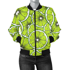 Slices Of Lime Design Pattern Women'S Bomber Jacket