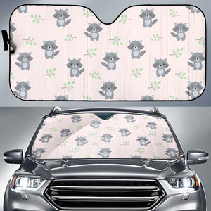 Cute Raccoons Leaves Pattern Car Sun Shade