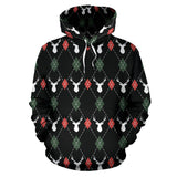 Deer Christmas New Year Pattern Argyle Men Women Pullover Hoodie