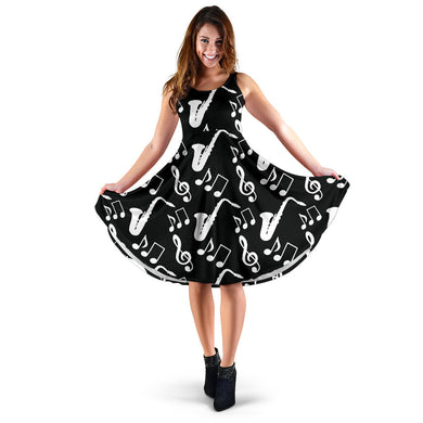 Saxophone Music Notes Treble Clef Black White Theme Sleeveless Midi Dress