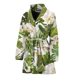 White orchid flower tropical leaves pattern Women's Bathrobe