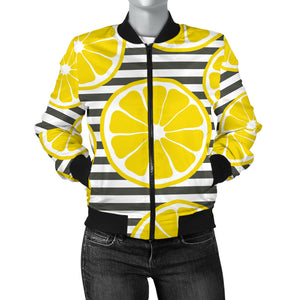 Slice Of Lemon Design Pattern Women'S Bomber Jacket