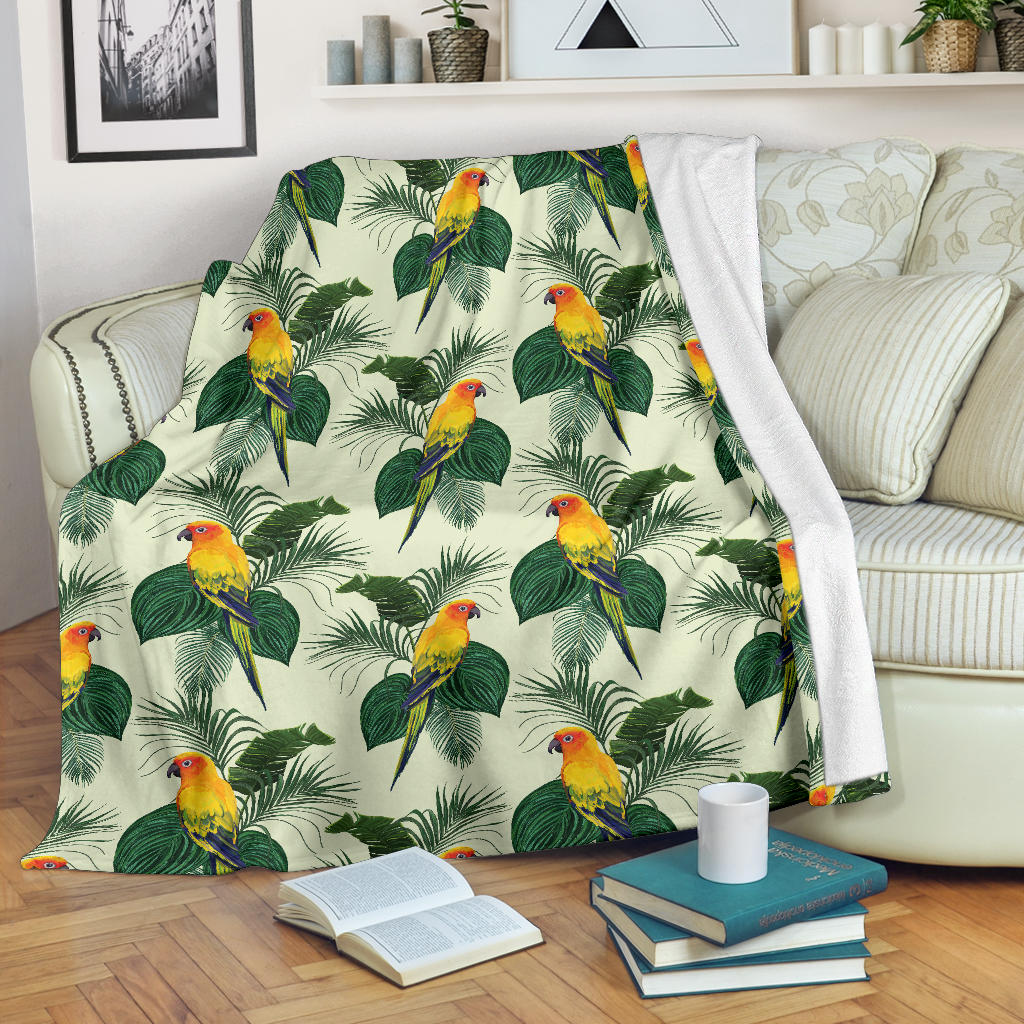 Beautiful Parrot Palm Leaves Pattern Premium Blanket