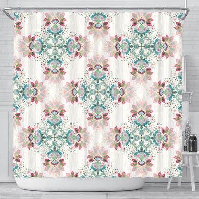 Square Floral Indian Flower Pattern Shower Curtain Fulfilled In US