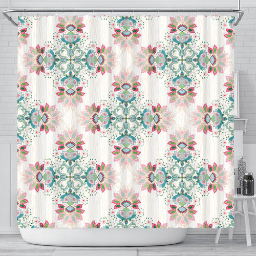 Square floral indian flower pattern Shower Curtain
