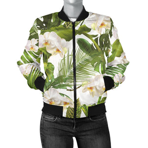 White Orchid Flower Tropical Leaves Pattern Women'S Bomber Jacket