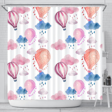 Watercolor Air Balloon Cloud Pattern Shower Curtain Fulfilled In US