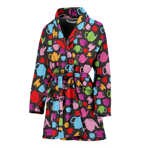 Tea Pots Pattern Print Design 01 Women's Bathrobe