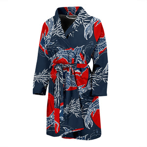 Koi Fish Carp Fishs Hand Drawn Japanese Art Men'S Bathrobe