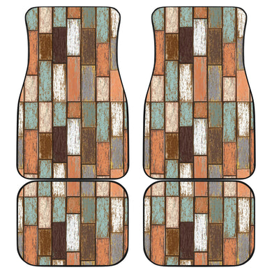 Wood Printed Pattern Print Design 02 Front and Back Car Mats