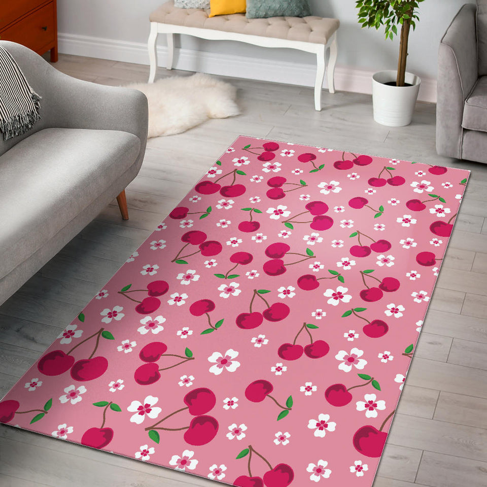 Cherry Flower Pattern Pink Background Area Rug