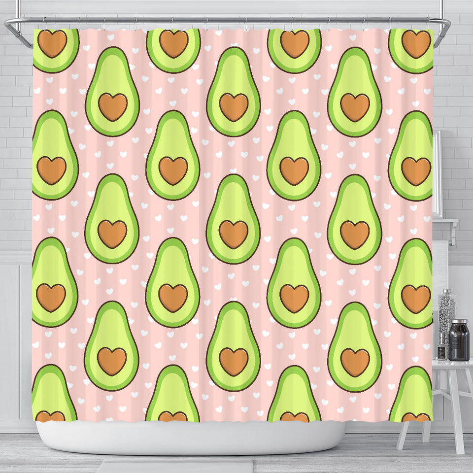 Avocado Heart Pink Background Shower Curtain Fulfilled In US