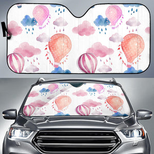 Watercolor air balloon cloud pattern Car Sun Shade