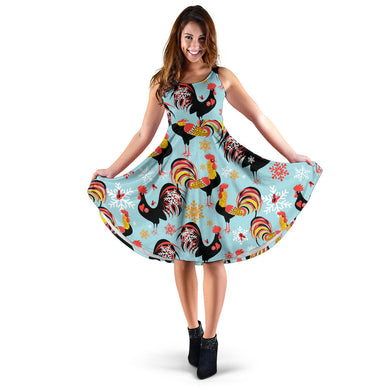 Rooster Chicken Cock Snowfalke Sleeveless Midi Dress