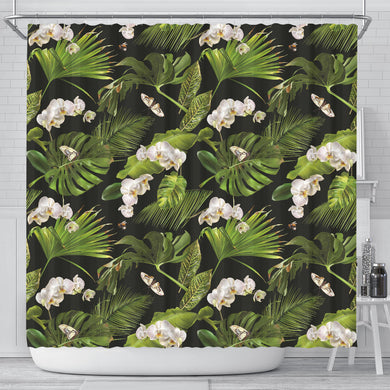 White Orchid Flower Tropical Leaves Pattern Blackground Shower Curtain Fulfilled In US