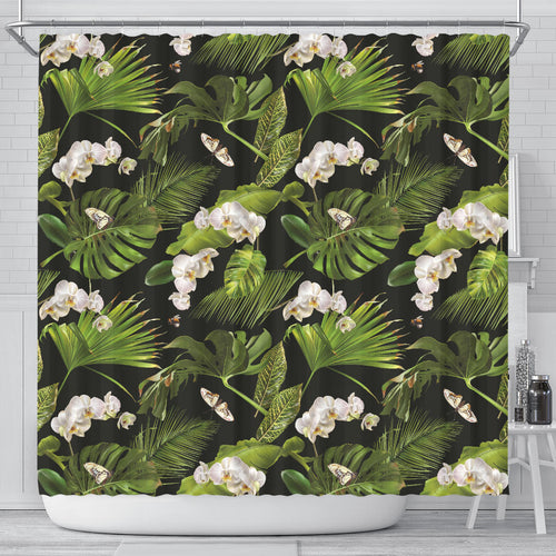 White orchid flower tropical leaves pattern blackground Shower Curtain
