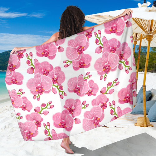 pink purple orchid pattern background Sarong