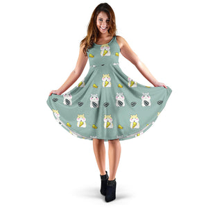 Cute hamster cheese pattern Sleeveless Midi Dress
