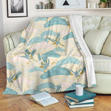 Bonsai bamboo stork japanese pattern cream theme Premium Blanket