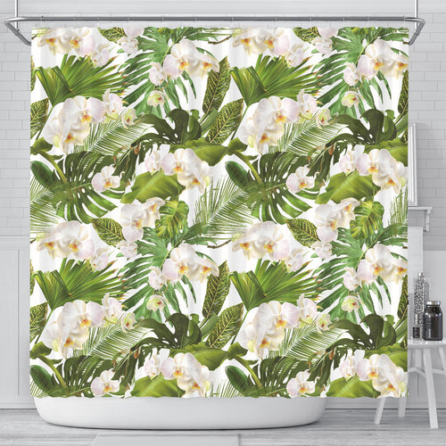 White orchid flower tropical leaves pattern Shower Curtain