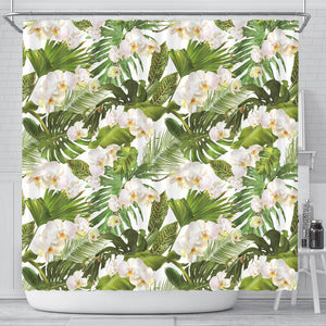 White Orchid Flower Tropical Leaves Pattern Shower Curtain Fulfilled In US