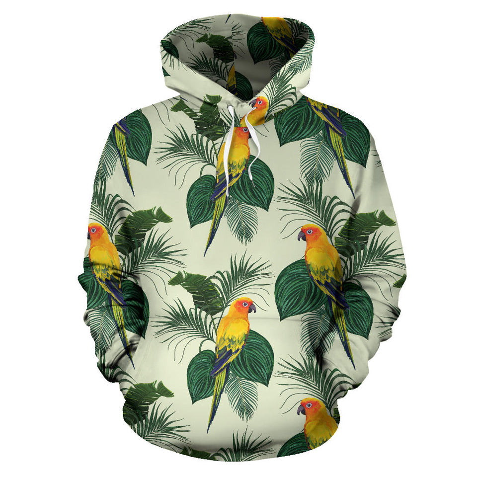 Beautiful Parrot Palm Leaves Pattern Men Women Pullover Hoodie