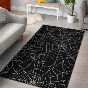 Spider web pattern Black background white cobweb Area Rug