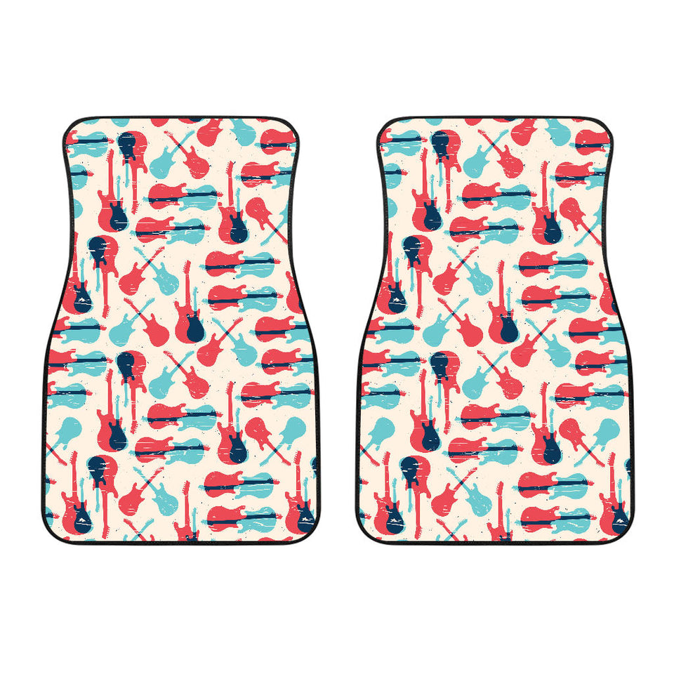 Red Blue guitar pattern Front Car Mats