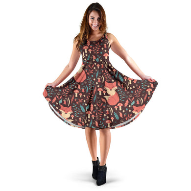 Fox Leaves Mushroom Pattern Sleeveless Midi Dress