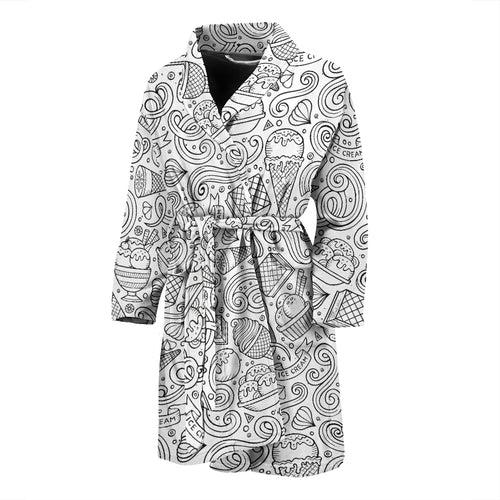 Cartoon hand drawn ice cream black white Men's Bathrobe