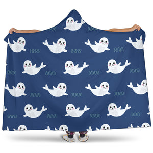 Cute White Baby Sea Lion Seal Pattern Hooded Blanket