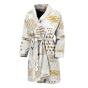 Beautiful gold japanese pattern Men's Bathrobe