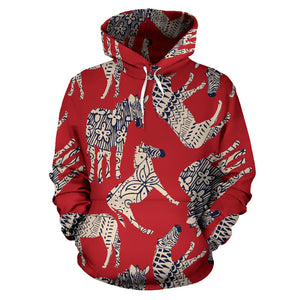 Zebra abstract red background Pullover Hoodie