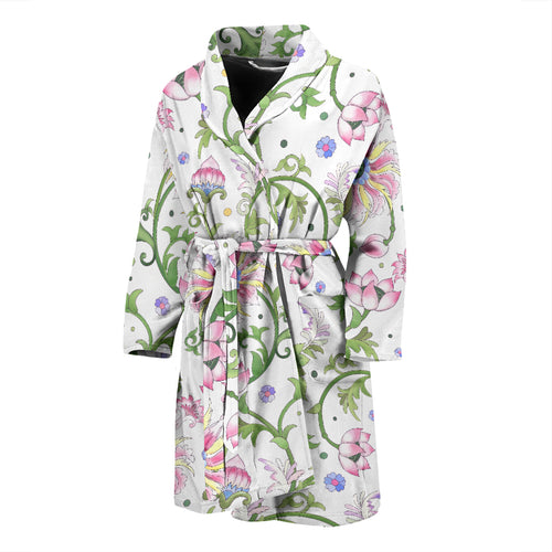 Beautiful pink lotus waterlily leaves pattern Men's Bathrobe