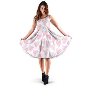 Watercolor pink heart pattern Sleeveless Midi Dress