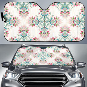 Square floral indian flower pattern Car Sun Shade