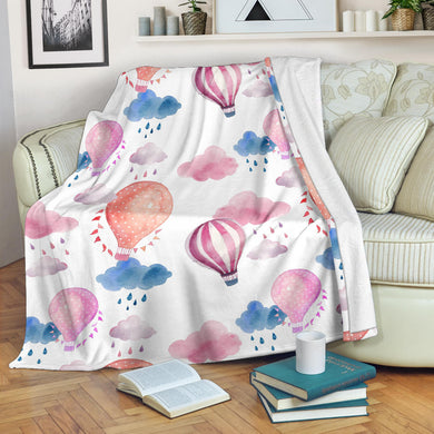 Watercolor air balloon cloud pattern Premium Blanket