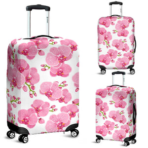 pink purple orchid pattern background Luggage Covers