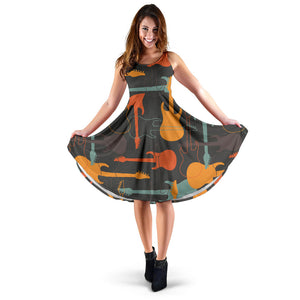 Electric Guitars Pattern Sleeveless Midi Dress