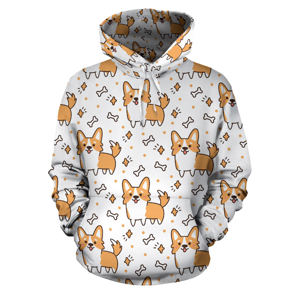 Cute corgi heart star bone pattern Men Women Pullover Hoodie