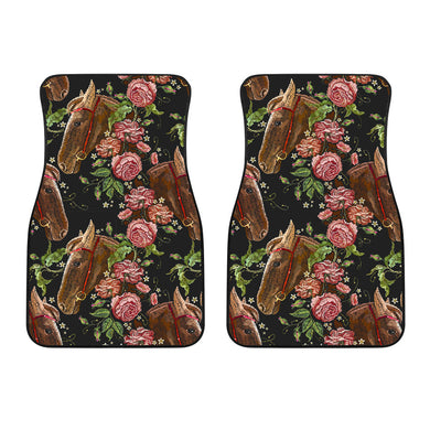 Horse Head Wild Roses Pattern Front Car Mats