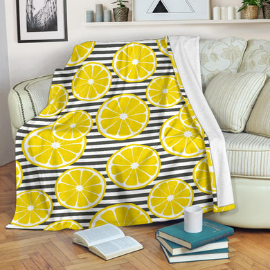slice of lemon design pattern Premium Blanket