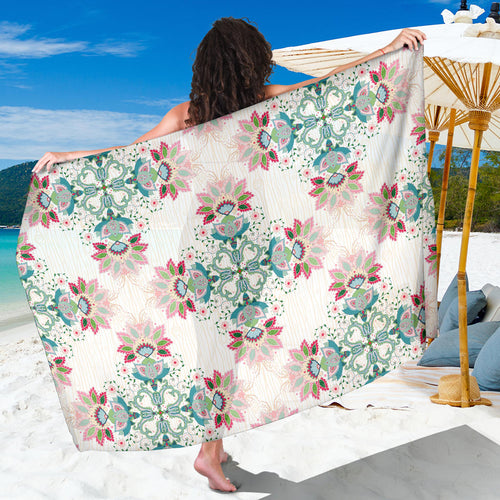 Square floral indian flower pattern Sarong