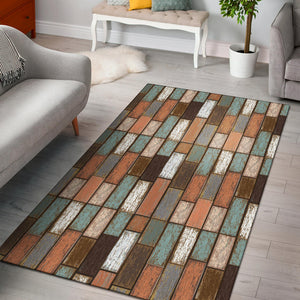 Wood Printed Pattern Print Design 02 Area Rug