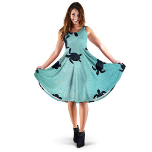 Sea Turtle With Blue Ocean Backgroud Sleeveless Midi Dress