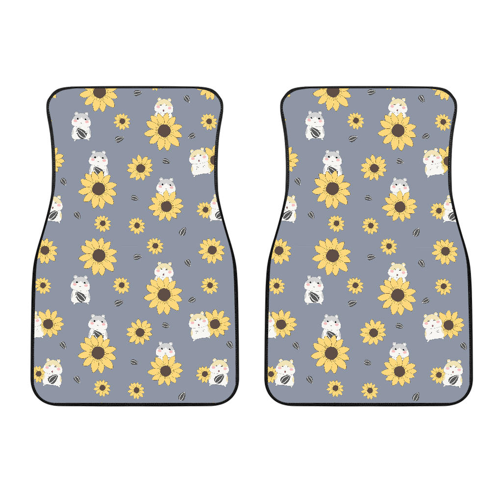 Cute Hamster Sunflower Pattern Background Front Car Mats