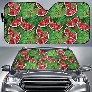Watermelons Tropical Palm Leaves Pattern Background Car Sun Shade