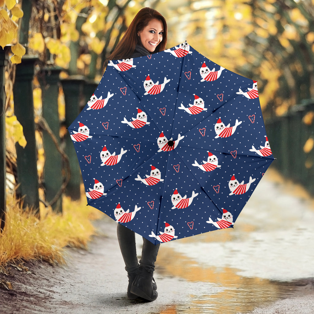 Cute Sea Lion Seal Christmas Hat Candy Cane Heart Pattern Umbrella
